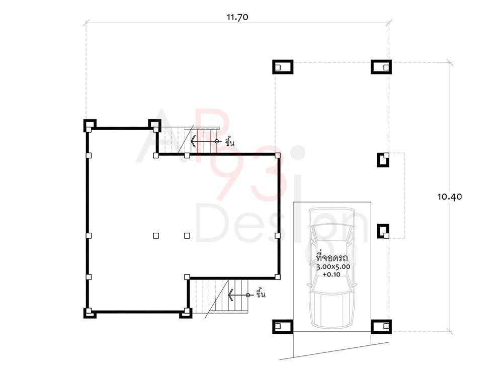 แปลนชั้นล่าง แบบบ้านสำเร็จรูปชั้นเดียว ยกพื้นสูง AR03