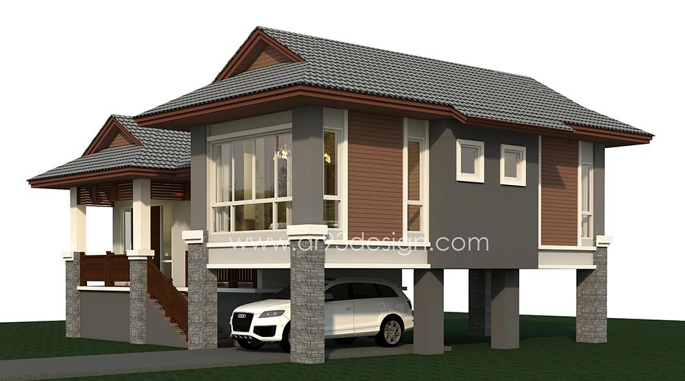 แบบบ้านสำเร็จรูปชั้นเดียว ยกพื้นสูง AR03-3