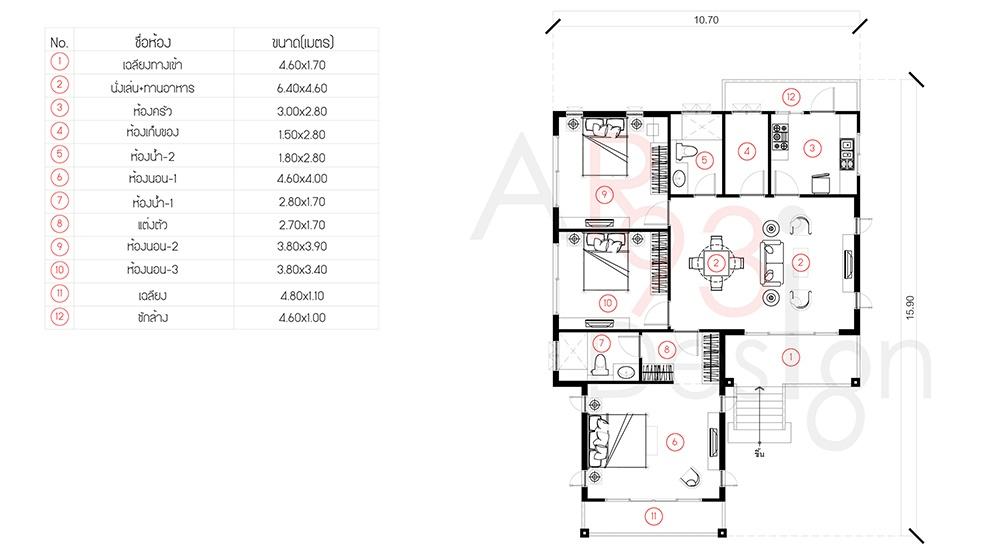 แปลนแบบบ้านชั้นเดียวยกพื้นสูง ใต้ถุนโล่ง AR32