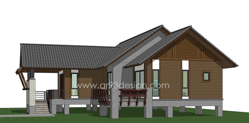 แบบบ้านสำเร็จรูปชั้นเดียว ยกพื้นสูง ใต้ถุนโล่ง AR29-2